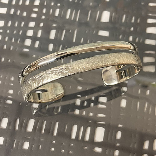Chunky solid sterling silver double band torque bangle