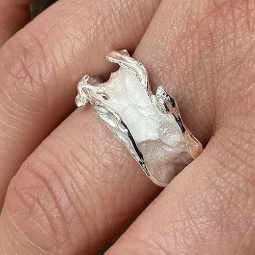 Statement satin silver ring