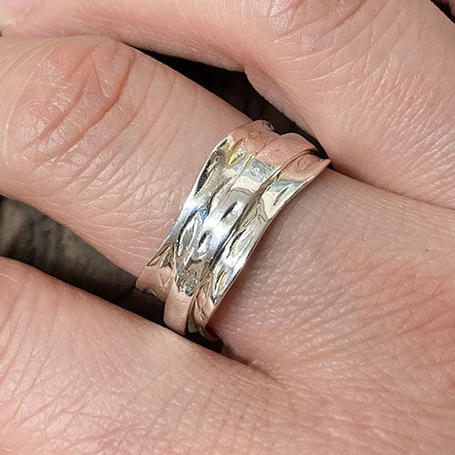 Sterling silver broad spinning ring