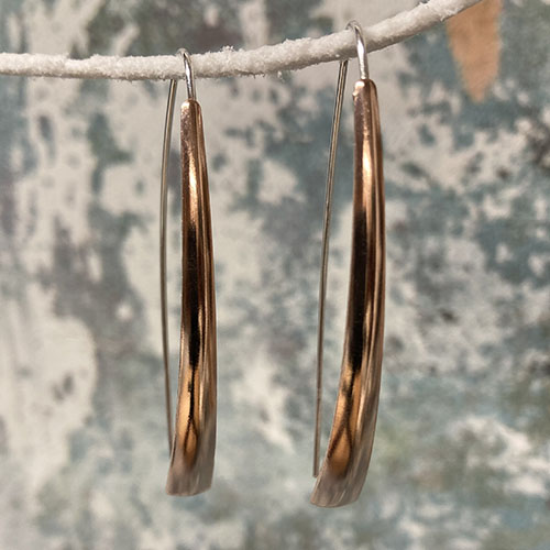 Long silver and rose gold earrings