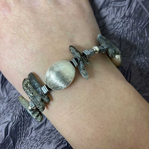 Sterling silver and Kyanite stick bracelet