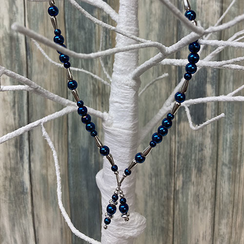 Sterling silver and blue haematite necklace