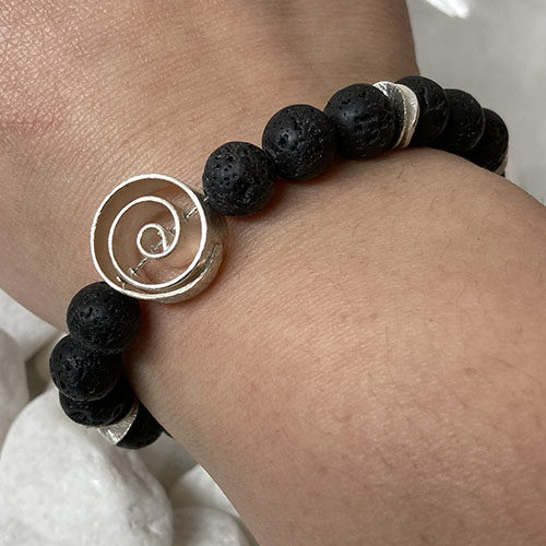Sterling silver and Lava bracelet