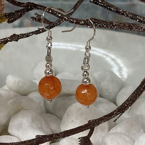 Sterling silver earrings with dyed orange Jade