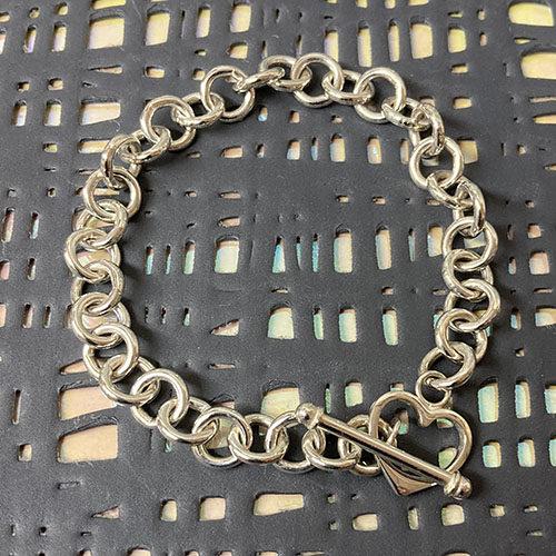 Sterling silver open round link bracelet