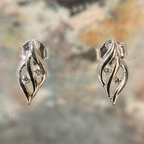Sterling silver stud earrings with cubic zirconia