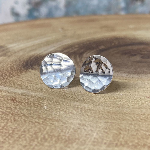 Sterling silver hammered effect disc studs