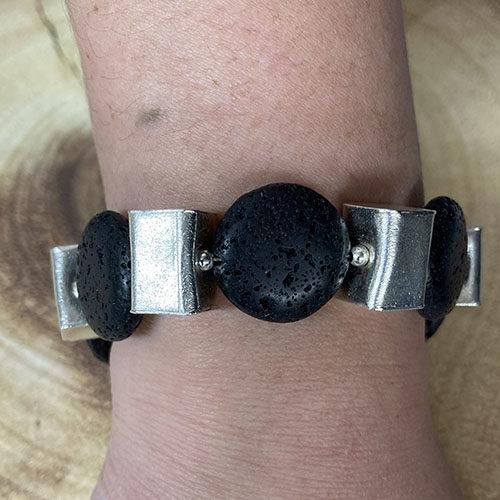 Black Lava and sterling silver bracelet