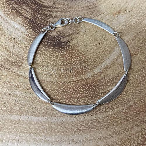 Sterling silver half moon shape linked bracelet