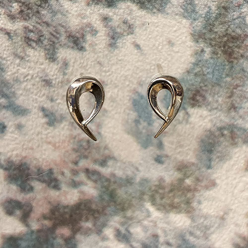 Sterling silver small loop stud earrings