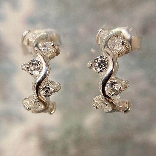 Sterling silver wavy hoop earrings