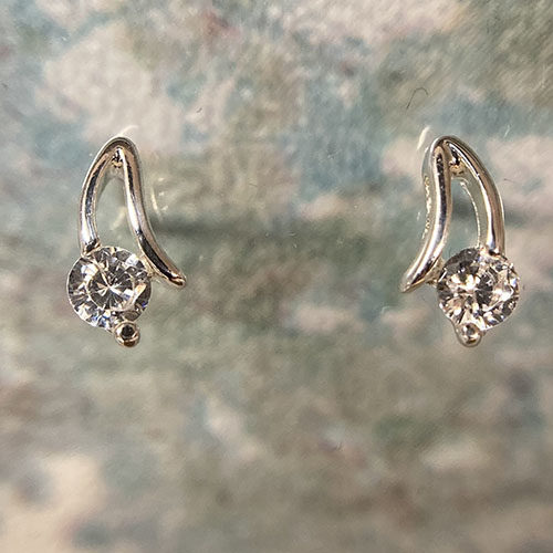 Sterling silver stud earrings with a cubic zirconia stone