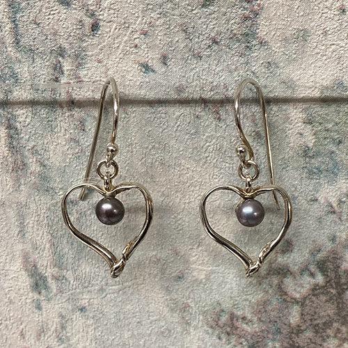Silver open heart hook earrings with blue pearl
