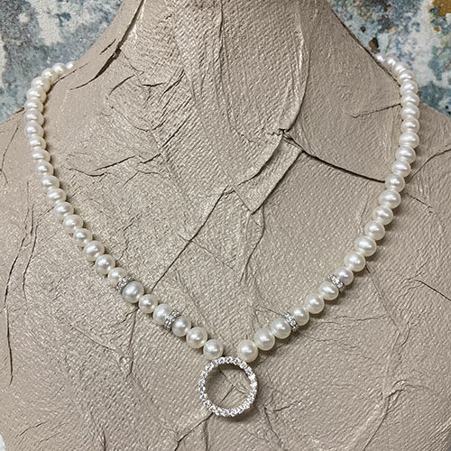 Silver and white freshwater pearl necklace