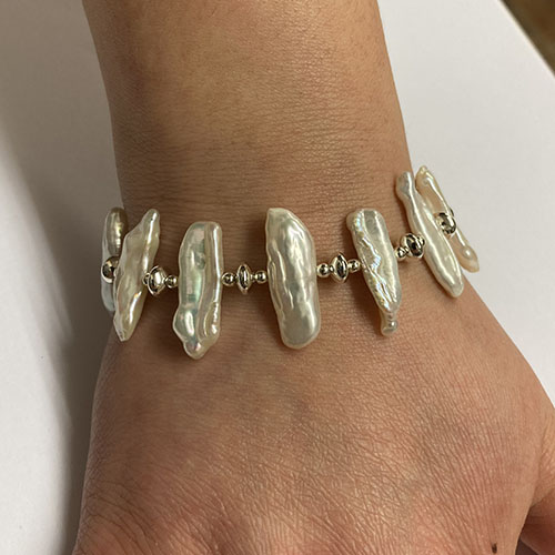 Sterling silver and white Biwa pearl bracelet