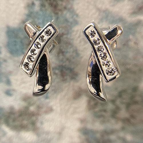 Criss cross sterling silver earrings