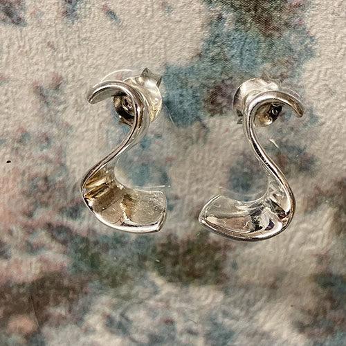Sterling silver S shaped earrings