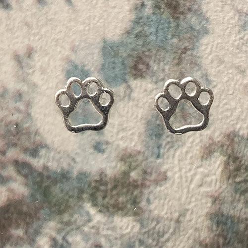 Sterling silver paw shaped earrings