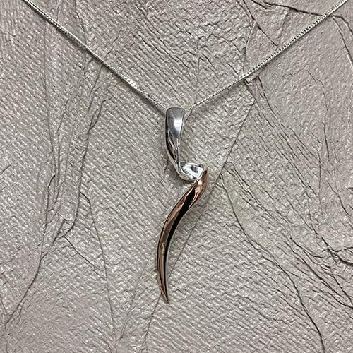 Elegant sterling silver and rose gold drop pendant
