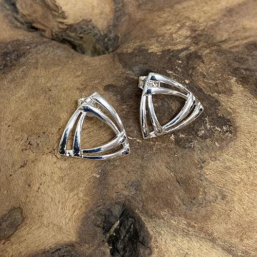 Sterling silver triangle shape stud earrings