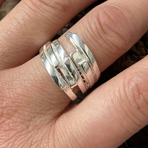 Sterling silver abstract broad ring
