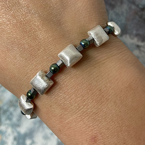 Sterling silver and Haematite bracelet