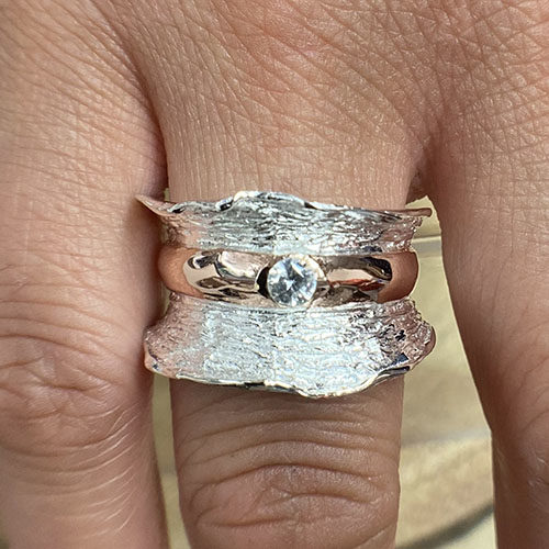 Sterling silver and rose gold broad ring