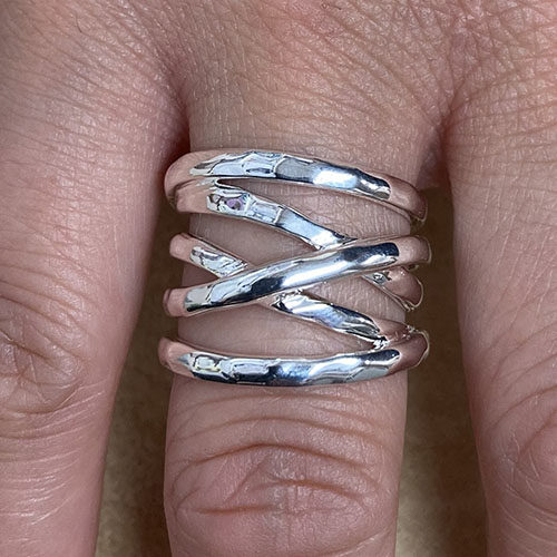 Sterling silver broad ring